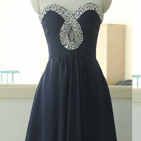 Stock Sweetheart-neck Navy Blue Bridesmaid Dress Short Bridesmaid gown Knee Length Bridesmaid dress Junior Bridesmaid dresses