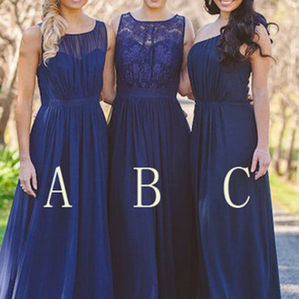 Chiffon Navy Bridesmaid Dresses, Lace Bridesmaid Dresses, Mismatched Bridesmaid Dresses, Bridesmaid Dresses,
