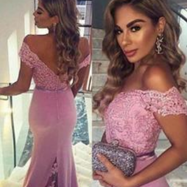 Long Bridesmaid Dresses, pink bridesmaid dress,off shoulder bridesmaid dress,custom bridesmaid