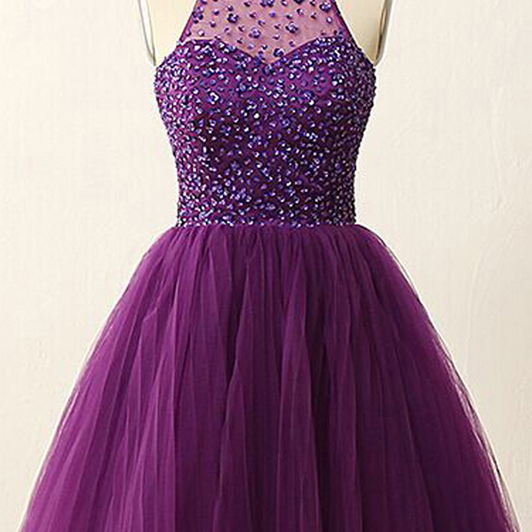 A-line Homecoming Dresses,Purple Homecoming Dresses,Beaded Homecoming Dresses,Backless Homecoming Dresses,