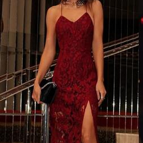 Sexy Burgundy Lace Homecoming Dresses With Spaghetti Straps, Mermaid Homecoming Dresses
