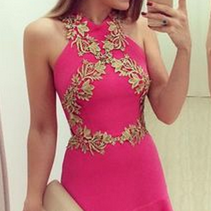 Pink Halter Applique Short Simple Homecoming Dress