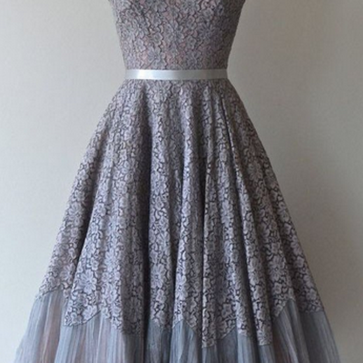 Classic 1950s Homecoming Dresses,Vintage Short Lace Prom Dress,Homecoming Dress with Sash