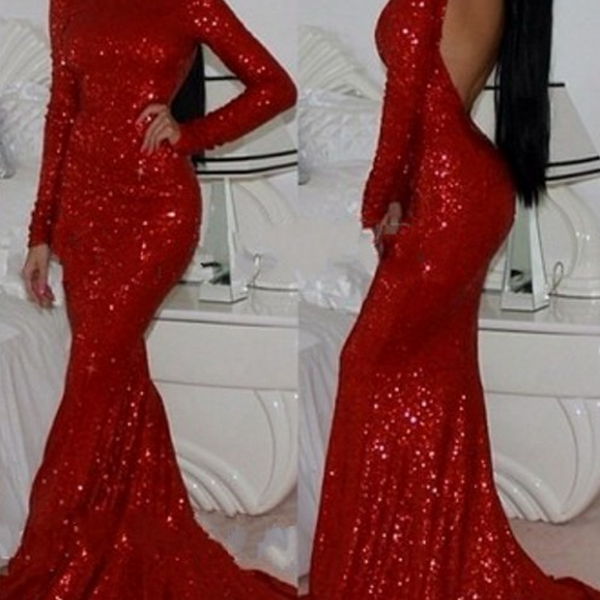 Shining Champagne Sequins Long Train Evening Dress, Prom Dresses,Red Prom Dresses, Sequins Evening