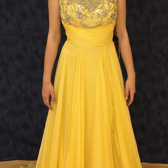 Prom Dresses,yellow Prom Dresses, Prom Dresses,slit Prom Dresses,Evening