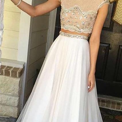 White Prom Gown,Sexy Prom Dresses,2 pieces prom dresses,evening dresses,long evening gowns