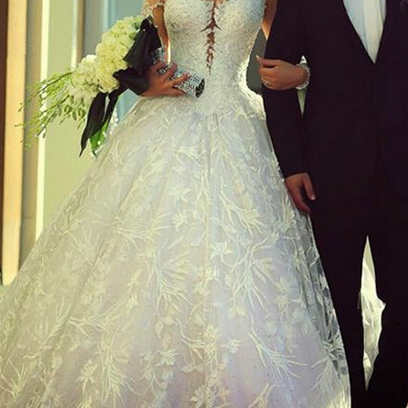 White Lace Wedding Gowns Ball Gown Jewel Long Sleeve Wedding Dresses