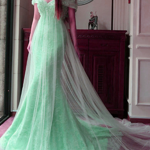 Mint Lace Tulle Off the Shoulder Long Evening Dresses,Princess Mermaid Prom Dresses