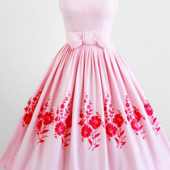 Custom Made Pink Floral Embroidered A-Line Short Evening Dress with Ribbon, Homecoming Dress, Cocktail Dresses, Graduation Dresses