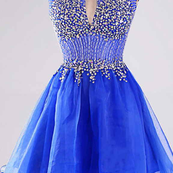 Open Back Prom Dresses with a Sexy Keyhole, Royal Blue Cap Sleeve Short Prom Gowns, High Neck Beaded Homecoming Dress