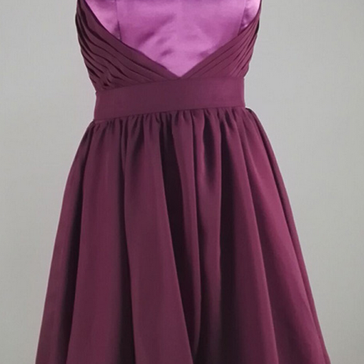 ,Grape Purple Chiffon Homecoming Dresses Simple Ruched Sweetheart Short Evening