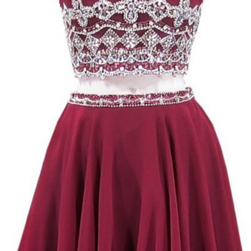 Grade Prom Party Dresses A-line Scoop Sleeveless Beaded Crystals Burgundy Chiffon Two Piece Short Homecoming Dress