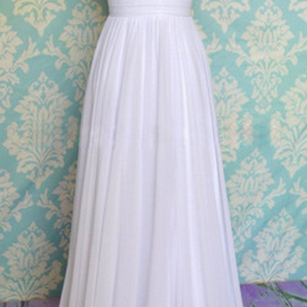 White Prom Dress, Long Prom Dress, Custom Prom Dress, Chiffon Prom Dress, Cheap Prom Dress