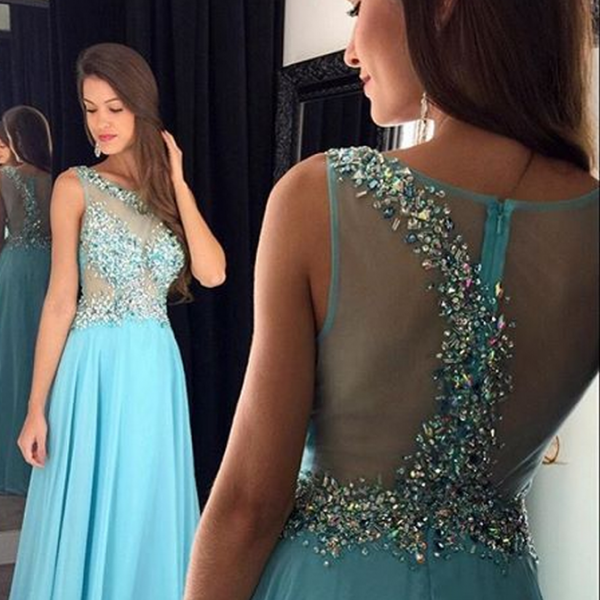 Prom Dress, A-line Prom Dress, Sleeveless Prom Dress, Crystal Prom Dress, Long Prom Dress, Illusion Back Prom Dress