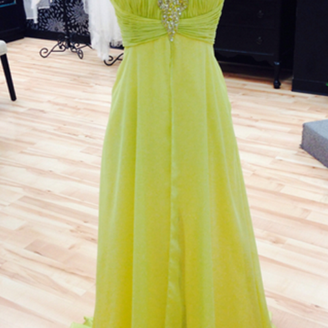 Yellow Prom Dresses,Chiffon Prom Gown,Backless Prom Dresses,Prom Dresses,New Style Prom Gown