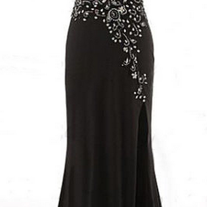Black Beaded Embellished Sweetheart Floor Length Chiffon Trumpet Formal Dress Featuring Slit
