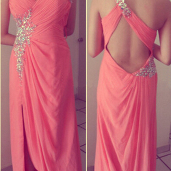 long prom dress, backless prom dress, one shoulder prom dress, formal prom dress,