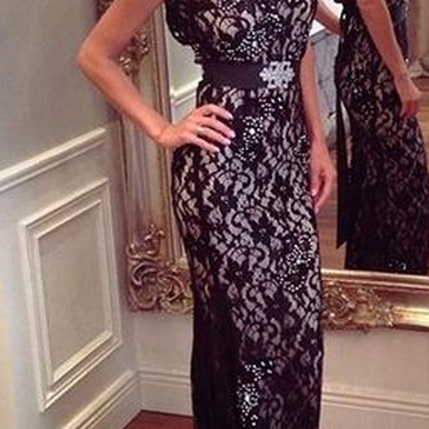 New Arrival Women Dress,Sexy Black Floral Lace Prom Dresses with Low Back, Backless Prom Dresses with Sweep Train, Elegant Sleeveless Evening Dresses