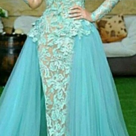 Custom Made Tulle Prom Dress, Halter Party Dress,Lace Long Sleeve Prom Dress,high quality Prom Dresses