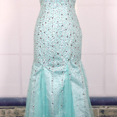 Prom Dress, Custom Cheap Ball Gown Heavy Beaded Sexy Backless Blue Long Mermaid Prom Dresses Gowns, Formal