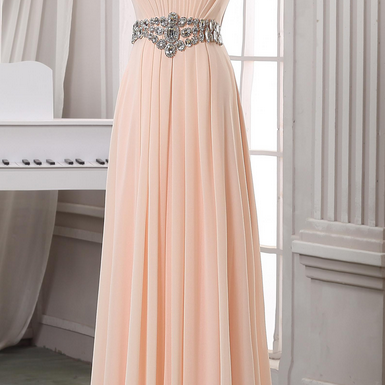 Prom Dresses,Evening Dress,Party Dresses,ale pink pleated prom dress,strapless long chiffon prom dress,
