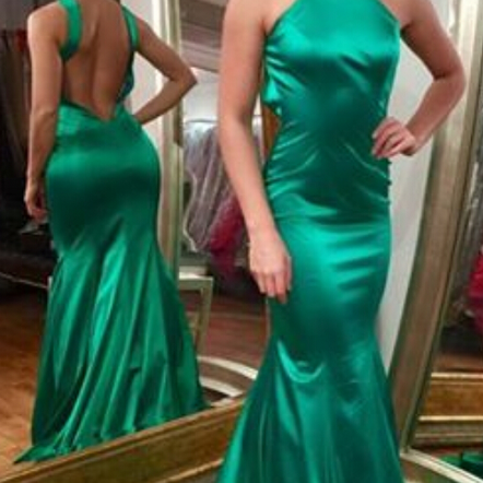 Prom Dresses,Evening Dress,Green Halter Backless Satin Mermaid Prom Dress,Custom Made Prom Dress