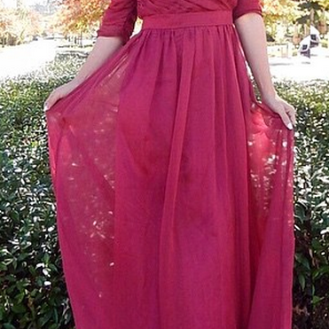 Prom Dresses,Evening Dress,Prom Dresses,Cheap Ruffles Long Half-sleeve Off-the-shoulder Chiffon Evening Dresses