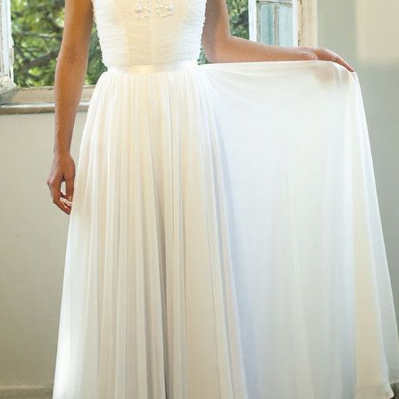New Arrival A Line Appliques Wedding Dresses, Chiffon Wedding Gowns, V-Neck Bridal Dresses,The Charming