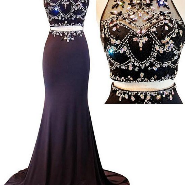 Custom Made Charming Beading Prom Dress, Sexy Halter Evening Dress,Two Pieces Prom Dress
