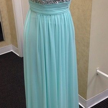Mint Green Sleeveless Illusion Neckline Chiffon Floor Length Prom Dress with Crystal Beading