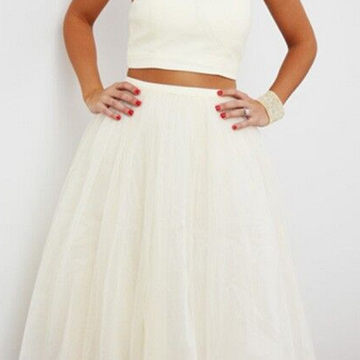 Adorable White Plain Sleeveless Crop Top Homecoming Dress,Tulle High Waisted Tutu Skirt