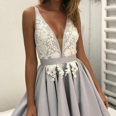 Short Homecoming Dress with Lace Graduation Dress