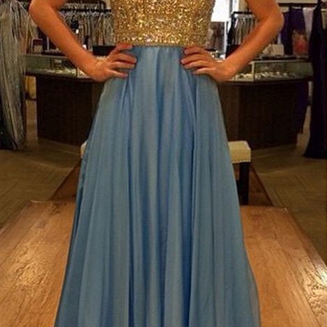 Beaded Embellished Halter Neck Floor Length Chiffon A-Line Prom Dress, Formal Dress