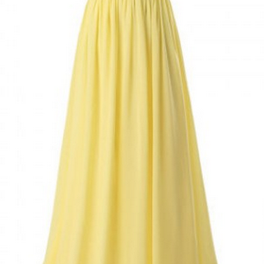 Elegant Long Prom Dress, Simple V Neck Prom Dress,Yellow Chiffon Evening Dress,