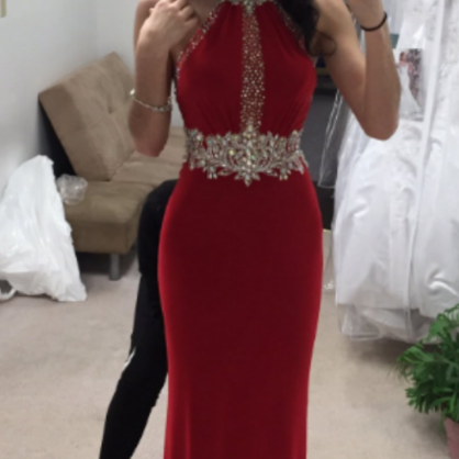 Red Halter Prom Dresses Wedding Party Dresses Sweet 16 Dresses Banquet Dresses