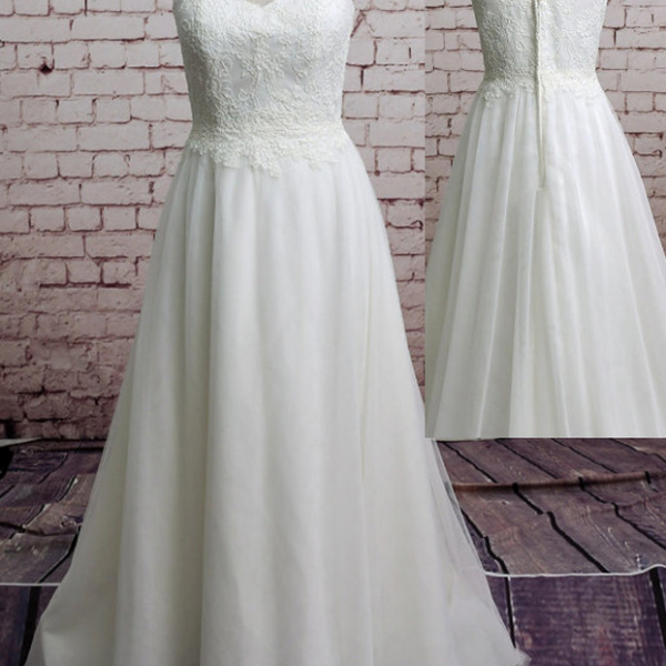Brief A-Line Wedding Dress Tulle Appliques Wedding Dress