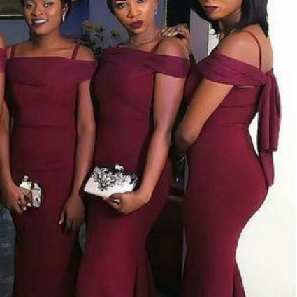 Burgundy Mermaid Prom Dresses Off-the-Shoulder Long Sexy Bridesmaids Dress,