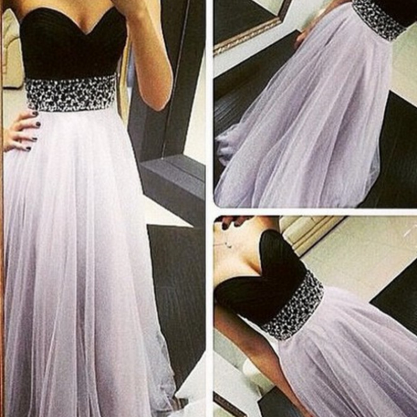 Hot High Quality Light Lavender Tulle Prom Dresses