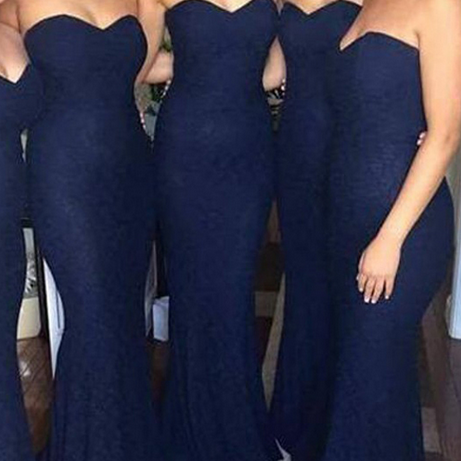 Customisable Navy Blue Floor Length Sweetheart Neckline Mermaid Bridesmaid Dress