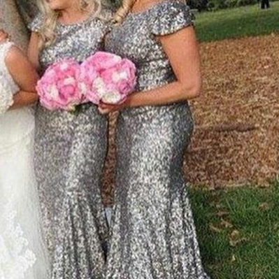 gray sequin bridesmaid dress, long bridesmaid dress, cap sleeves bridesmaid Dress, popular bridesmaid dress