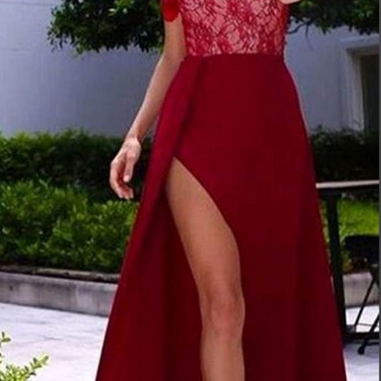 Red Lace Off-the-Shoulder A-line Satin Prom Dresses