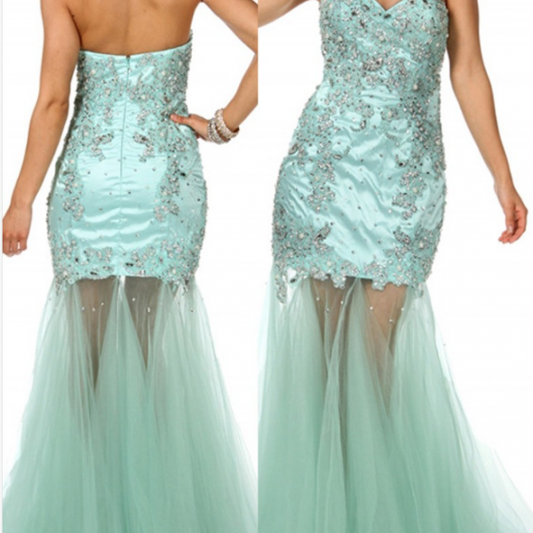Sexy Mermaid Evening Dress Sweetheart Evening Dress Tulle Appliques Evening Dress