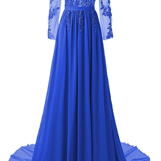 Long Sleeves Blue Prom Dress with Open Back