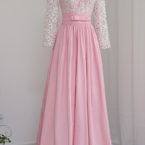 Rose wedding dress party v-er long sleeve taffeta dress in the evening dress of the evening gown of the evening gown