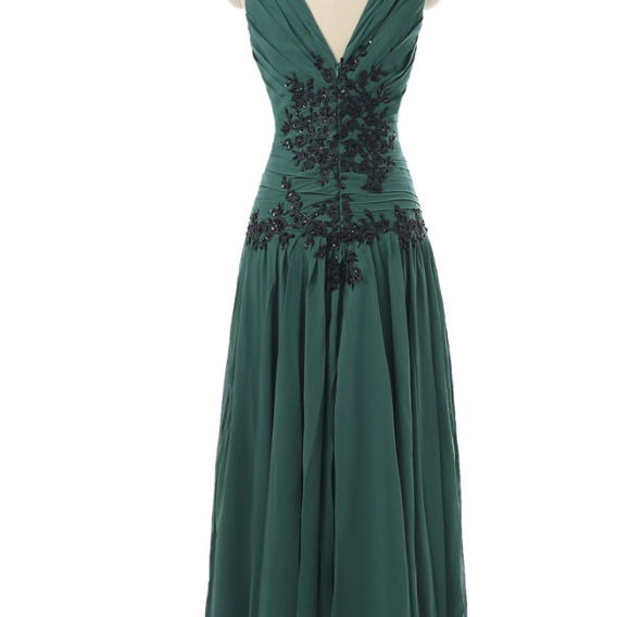 Green wedding dress party v-ing Cape Town sleeves silk chiffon dress for women's long gown evening gown evening gown
