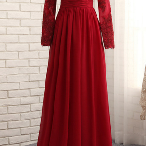 Muslim wedding dress party, long-sleeved silk tulle dress with a red skirt at the end of the night evening gown