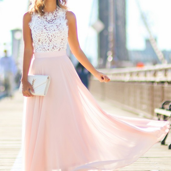 Gorgeous Crew Long Pink Chiffon Prom Dress with White Lace Top
