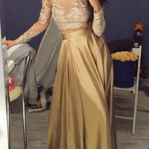 Two Piece Crew Floor-Length Long Sleeves Gold Stretch Satin Prom Dress with Lace