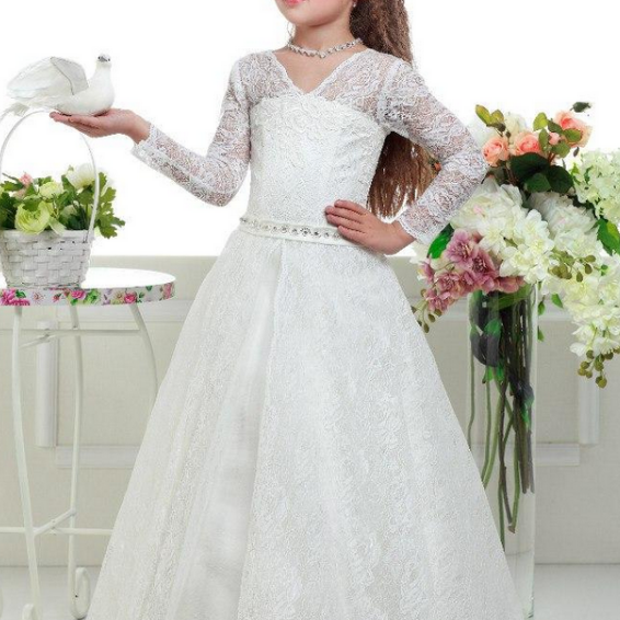 Flower Girl Dress,Ivory Flower Girl Dresses,Long Sleeves Flower Girl Dresses, Lace Tulle Flower Girl Dress, Girls First Communion Dresses, New Hot Flower Girl Dress