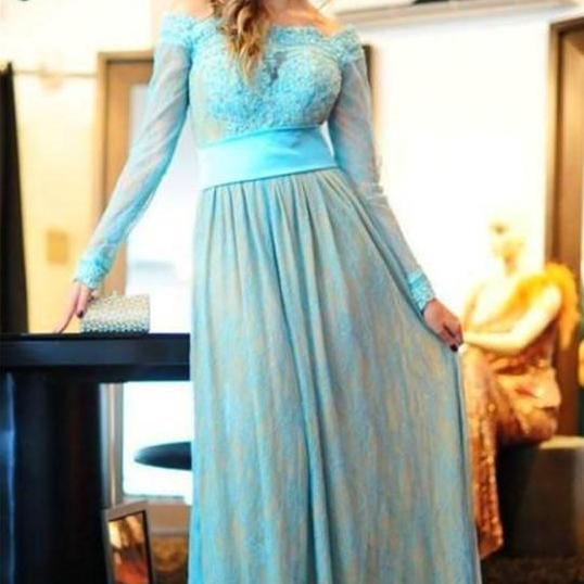 Delicate Lace Appliques Bowknot Evening Dresses A-line Long Sleeve Zipper Blue and Nude Prom Dress vestidos de festa noite Party Gowns